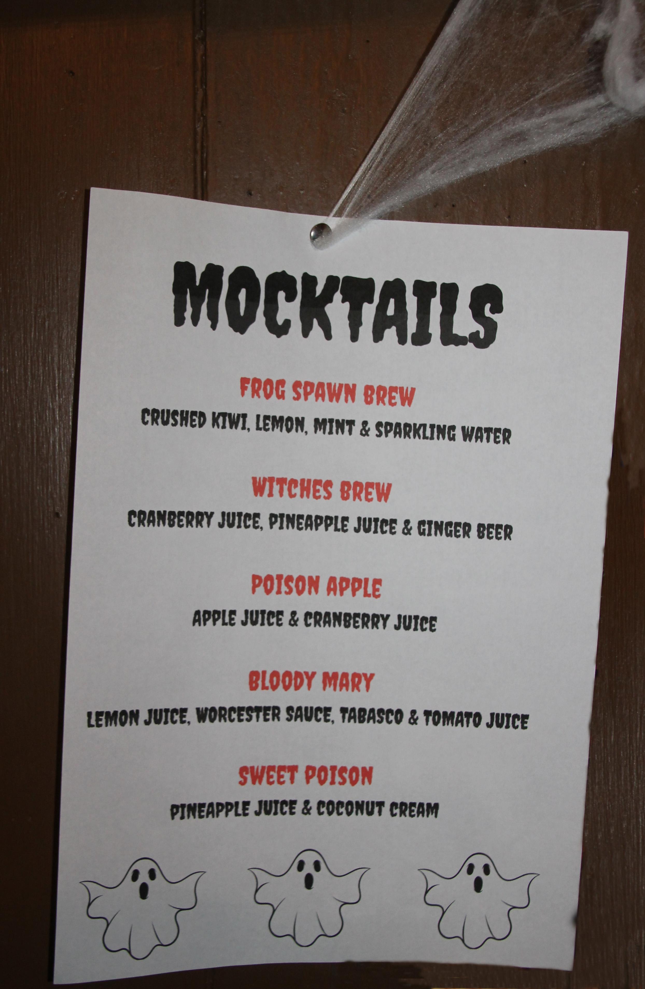 1030 Halloween Mocktail Menu