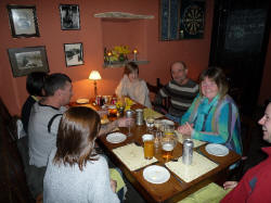 People enjoying a meal in the Cwmdu Inn restaurant