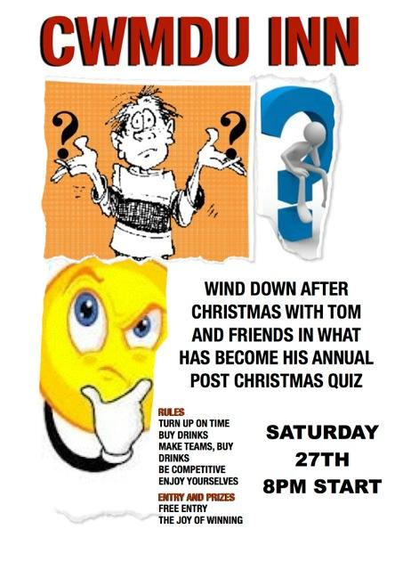 Annual post christmas quiz/Cwis ôl-blynyddol nadolig