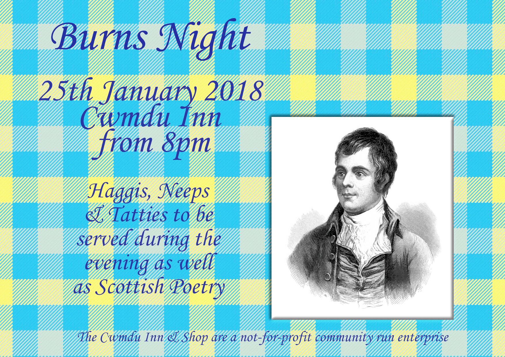 Details of 2018 Burns Night Supper at Cwmdu Inn