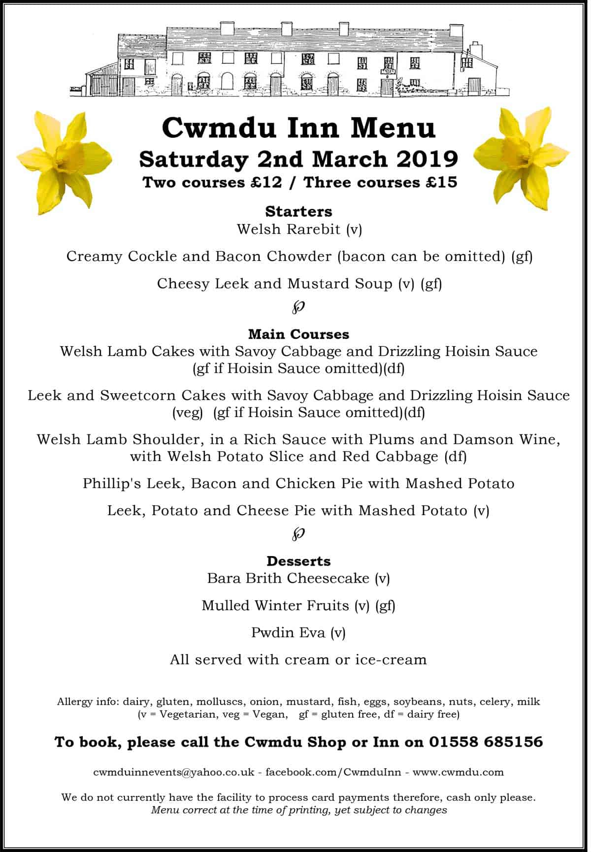 Cwmdu Inn Menu 2 March 2019