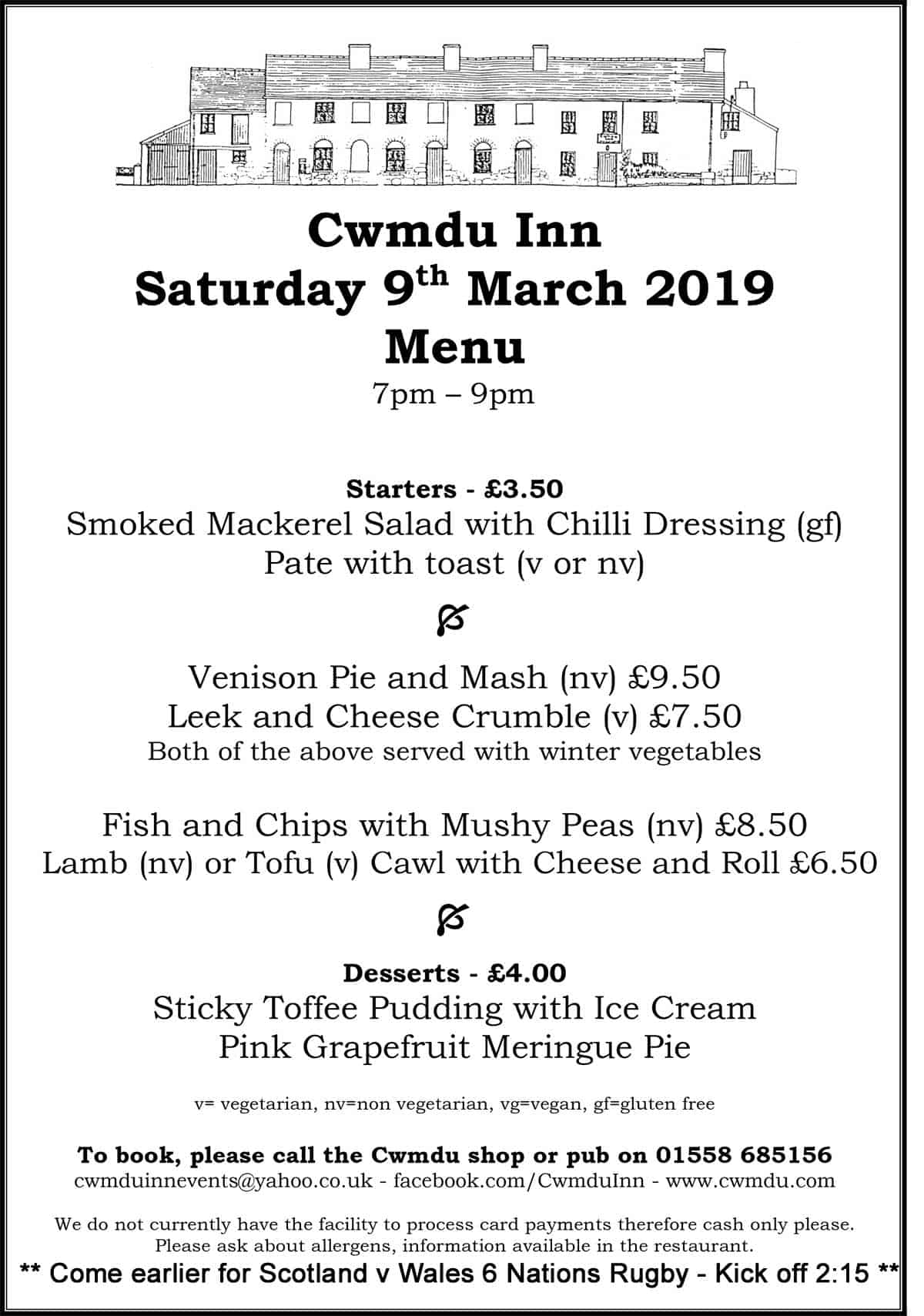 Cwmdu-Inn-Menu--9-March-2019 - Come earlier for 6 nations Rugby