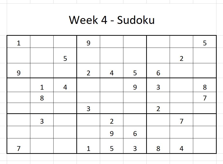 Week 4 Sudoku Solution
