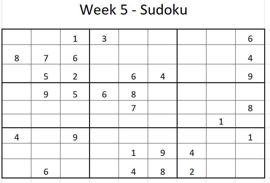 Week 5 Sudoku Solution
