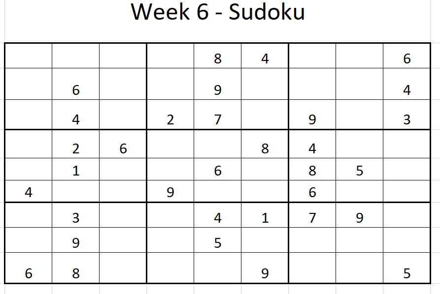 Week 6 Sudoku Solution