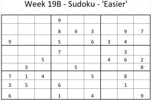 Week 19B Sudoku - 'Easier' puzzle