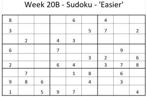 Week 20 'Easier' Sudoku puzzle